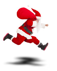 merry Christmas Santa Claus holding gift bag and running.