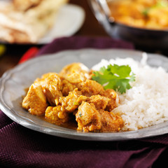 indian butter chicken curry with basmati rice