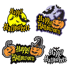 Hand drawn halloween lettering with pumpkin and bats