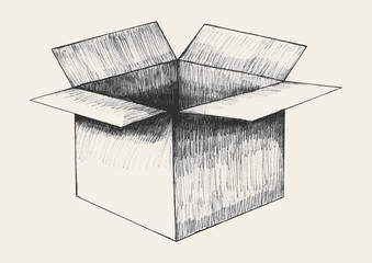 Sketch illustration of an open box