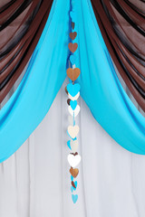Decor of canopy with tiffany colors with hearts