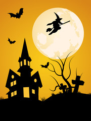 Scary Background with Castle, Bats and Witch