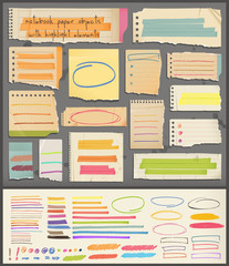 notebook paper objects & highlight elements