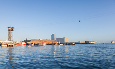 Panorama of Barcelona port with Montjuic cable car tower