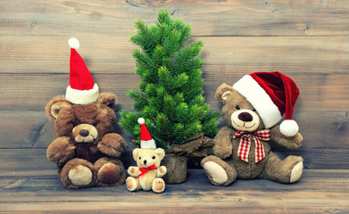 christmas decoration with vintage toys teddy bear family