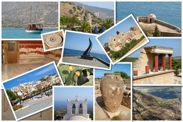 A collage of Crete island, Greece