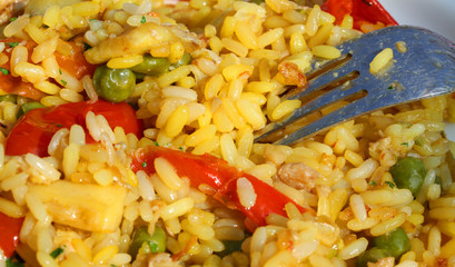 fork with excellent rice valenciana and paella