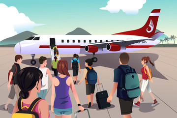 Tourists boarding on a plane