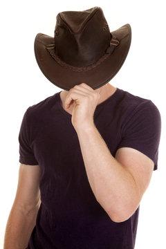 man in purple shirt cowboy hat face hid