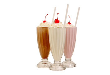 Stores à enrouleur Lait, Milk-shake Milk shakes isolated on white