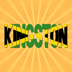 Kingston flag text with sunburst illustration