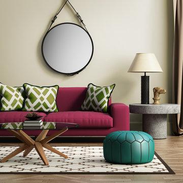 Contemporary elegant red living room