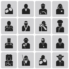 User Icons and People Job avatar Black Icons set. Vector Illustr