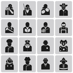 User Icons and People Job avatar Black Icons set3. Vector Illust