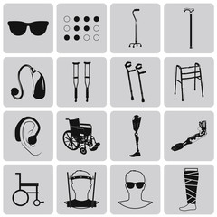 Disability Black Icons Set. Vector Illustration eps10