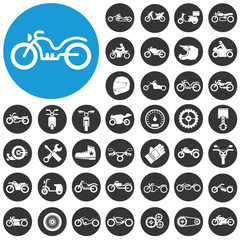 Motorcycles and bicycles icons set. Vector Illustration eps10