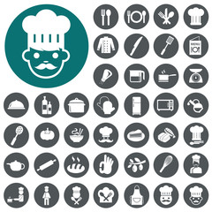 Chef icons set. Vector Illustration eps10