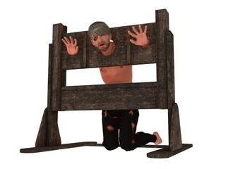 Prisoner in pillory