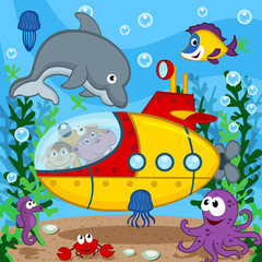 animals on submarine - vector  illustration, eps