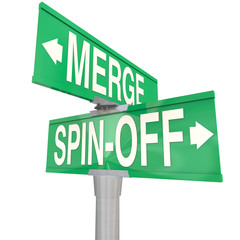 Merge Vs Spin-Off Words Two Way Road Signs