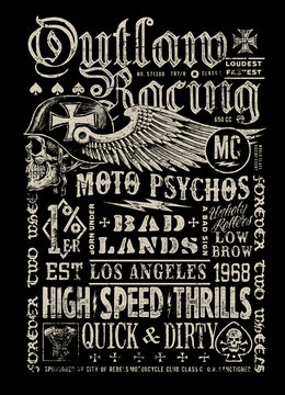 Outlaw Racing vintage poster t-shirt graphic