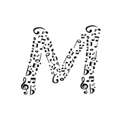 Abstract vector alphabet - M made from music notes - alphabet se
