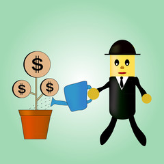 cartoon character of businessmen are watering with his money tre