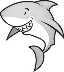 great white shark funny looking illustration vector