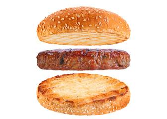 Bun and pork rissole ingredient hamburger