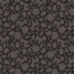 Seamless pattern with cute dogs, icons and objects.