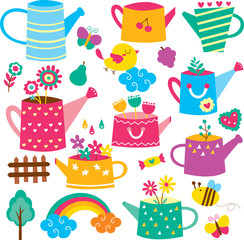 Watering Can Flower Pot Clip Art Set