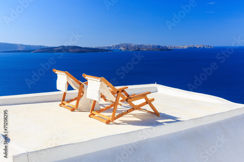 Wall mural Deck chairs, Santorini Greece