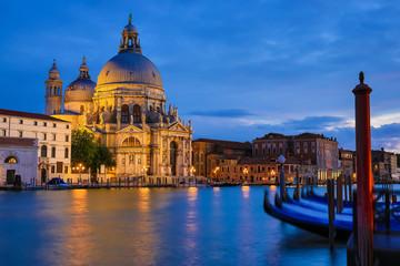 Aluminium Prints Venice Basilica Santa Maria della Salute at night, Venice Italy