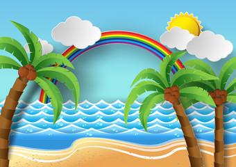 Coconut trees on the beach and sun wiht rainbow.vector illustrat