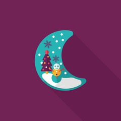 xmas moon flat icon with long shadow