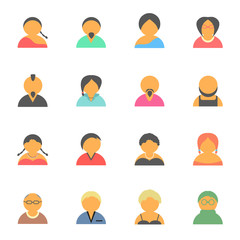 set of simple face avatar people icons