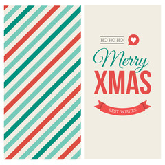 Merry Christmas card with pattern and label