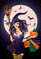 Halloween sale. Sexual witch and pumpkin shopping bags
