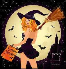 Halloween sale. Sexual shopping witch and castle