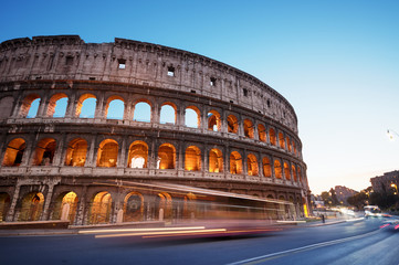 Foto op Canvas Rome Colosseum at night, Rome - Italy