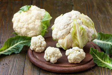 Heads of cauliflowers ready to be prepared