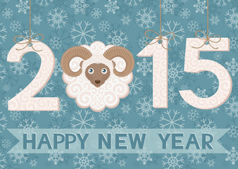 New year 2015 with ram. Greeting card.