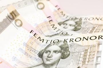 schwedische 50-Kronen-Geldscheine - Nahaufnahme