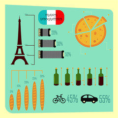 France infographic set. Infographic Design Template.
