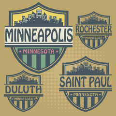 Label set with names of Minnesota cities, vector