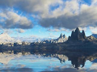 3D Landscape in fantasy planet, illustration