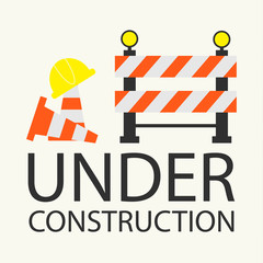 Under construction concept in flat design style, vector illustra