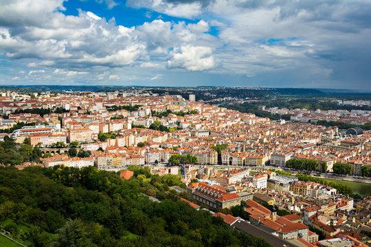 View of Croix Rousse Hill at Lyon city