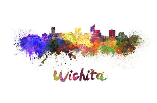 Wichita skyline in watercolor