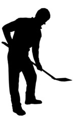 Digging man with shovel silhouette on white